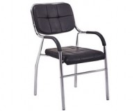 Black Leather and Chrome Stacking Chairs