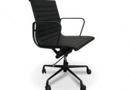 All black eames mid back swivel leather chair